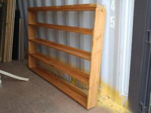 "Oakville WOOD SHELVES 70""x40"" Rustic Books Solid Handmade Shelving for Wall Large Wide Raw Rough Primitive Mancave"