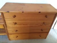 Large pine chest of drawers and matching side table