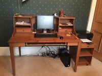 Pine desk with shelved unit