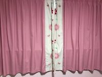 pink dunelm mill blackout curtains. Childrens curtains, 66 by 54.