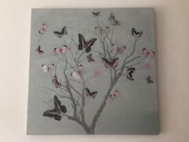 Canvas butterfly wall decor