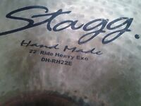 "Stagg 22"" Double Hammered Dry Heavy Exo Ride Cymbal with Natural Bell"