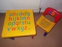 Childrens Alphabet Table and Chair