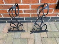 Plant pot holders (pair) - wrought iron