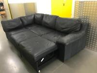 John Lewis black leather L shape sofa bed with storage , Free delivery