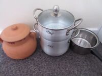 Original vegetable Steamer couscous maker tagine clay pot for 2 people