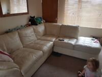 Leather Corner sofa & storage poofe