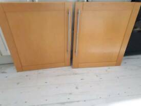 2 LARGE BEECH KITCHEN CUPBOARD DOORS