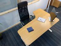 13 Ikea Bekant corner office/business/executive desk/table, height adjustable wood top