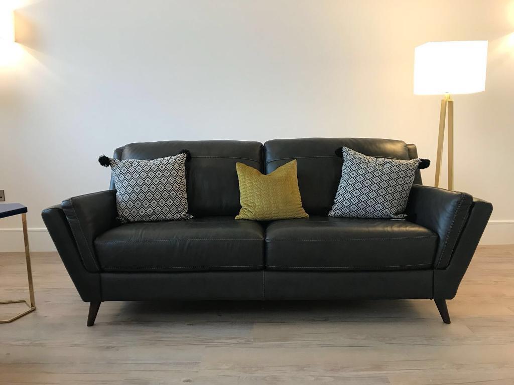 Alaska Slate Grey Italian Leather Sofa From Sofology Brand New Hasn T Been