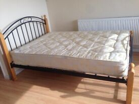 Queen size double bed and mattress