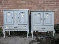 Hand painted His & Her pair of ornate French style bedsides in aged Paris Grey with white highlights
