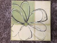 Wall Art Canvas - Next - Daisy Design in Beige and Olive Green