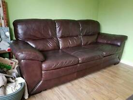 Brown Leather Sofas - Matching 3 seater & 2 seater