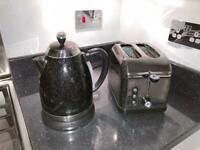 Goodmans Black Glitter Kettle and Toaster Set