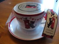 New Scottish Terrier fine porcelain Cup and saucer set, xmas gift with labels
