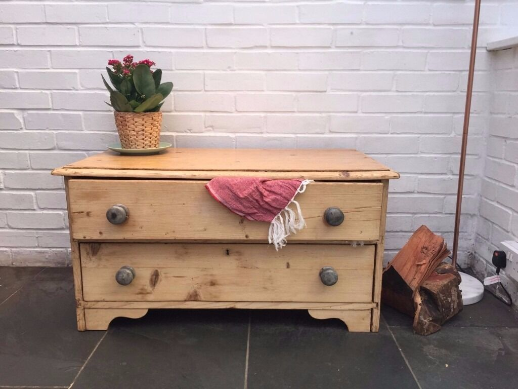 Antique Pine Chest Of Drawers Low 2 Drawer Solid Light Wood