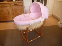 O Baby Moses basket and stand with two sets of canopy/bedding (Pink/Blue)