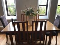 Dining room table, six chairs and matching side board