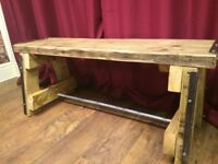 Handmade Rustic Wooden A Frame Bench - Reclaimed Materials - Ca Deliver