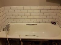 bath sink with taps and shower screen