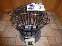 La Hacienda Traditional Fire Basket With Chrome Plated Cooking Grill