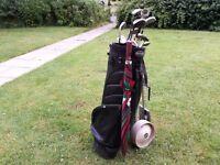 12 x Golf clubs, Leather bag, Trolley, Balls Etc