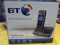 BT - BT2500 SINGLE CORDLESS HOUSE PHONE WITH ANSWER MACHINE, BOXED