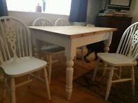 Solid pine french country farmhouse table and 4 chairs