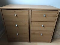3 drawer wooden beside table x2
