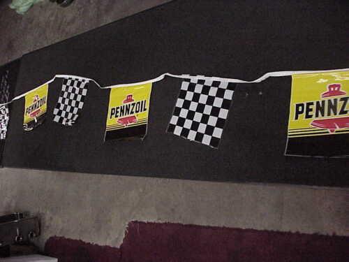 Pennzoil Advertising Sign Banner String Checkered Flag Nascar Indy Car