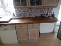 KITCHEN UNITS. BASE AND WALL UNITS IN MATCHING LIMED OAK. GOOD CONDITION, AVAILABLE NOW.