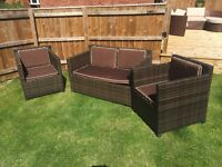 Set of 3 Rattan Garden Chairs
