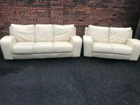 Cream leather two pieces suite, three, two seater sofa, couch, settee (free local delivery)🚚🚚🚚