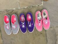 3 pairs of ladies vans shoes size 6
