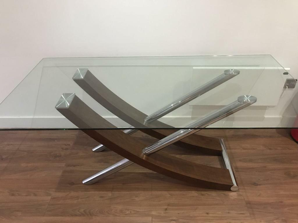 6 person walnut and glass dining room table