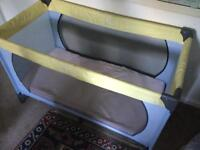 Travel cot and bedding