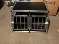 Double dog crate. Never used but built. Will deliver within 15 miles of Glasgow.