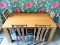 Solid Oak Extendable Dining Table with 4 Chairs
