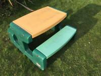 Large Little Tikes Forest Green and Yellow Child's Kid's Plastic Picnic Bench