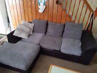 Black & Suede Fabric Corner Sofa