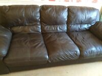 Large brown leather settee FREE to collector
