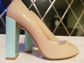 £10 Ladies Size 5 baby blue & pink block heels - Never Worn - Labels still in-tact
