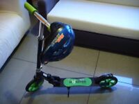 Black&Green Monster Boards Folding Kick Push Scooter with Helmet 52cm-55cm XXS