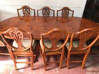 Vintage solid yew wood dining table and 8 chairs