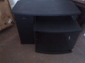 very large TV cabinet or stand or bench with glass door and shelves can deliver