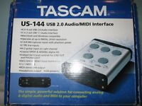 tascam audio mixer with mike and stand