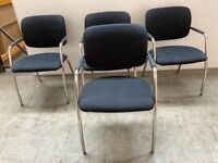 4 X BLACK STACKING OFFICE CHAIRS, MEETING ROOM, CONFERENCE, CANTEEN, CAFE