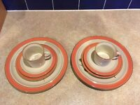 Plates, saucers, cups for 2
