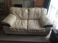 Cream colour leather 3 piece ( 5 seater) sofa